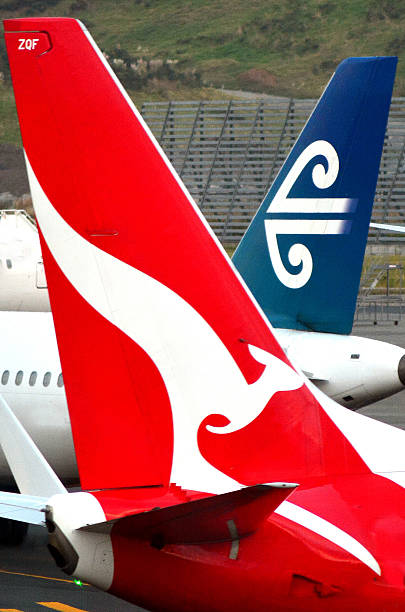 aria nuovo zelanda e qantas - qantas foto e immagini stock