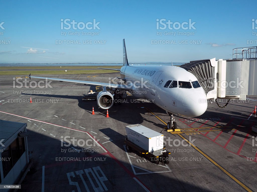 Air New Zealand passenger jet at Auckland Airport stock photo
