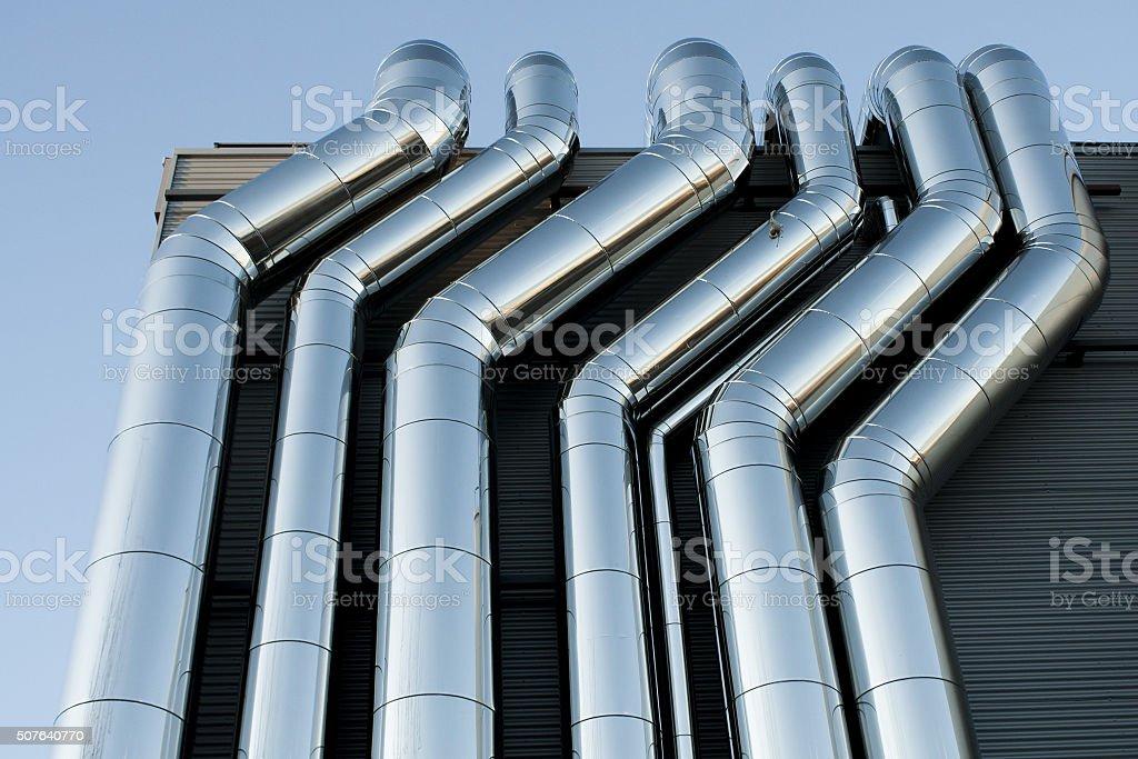 Air pipes HVAC ventilation stock photo