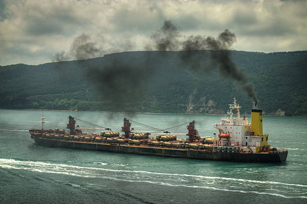 Air polluting ship stock photo
