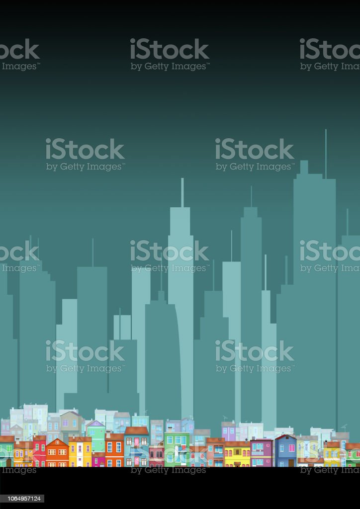 Air Pollution City Houses Buildings Illustration A3 Size