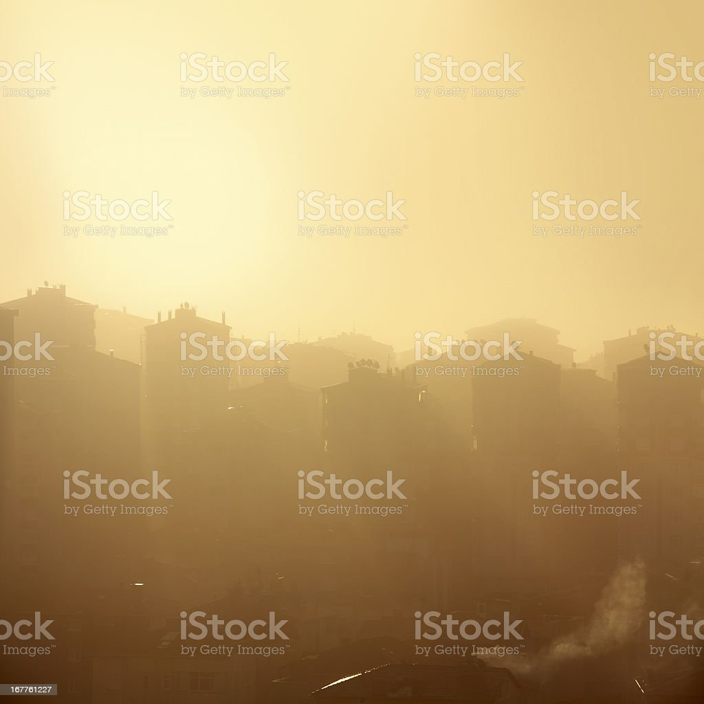 air pollution city stock photo