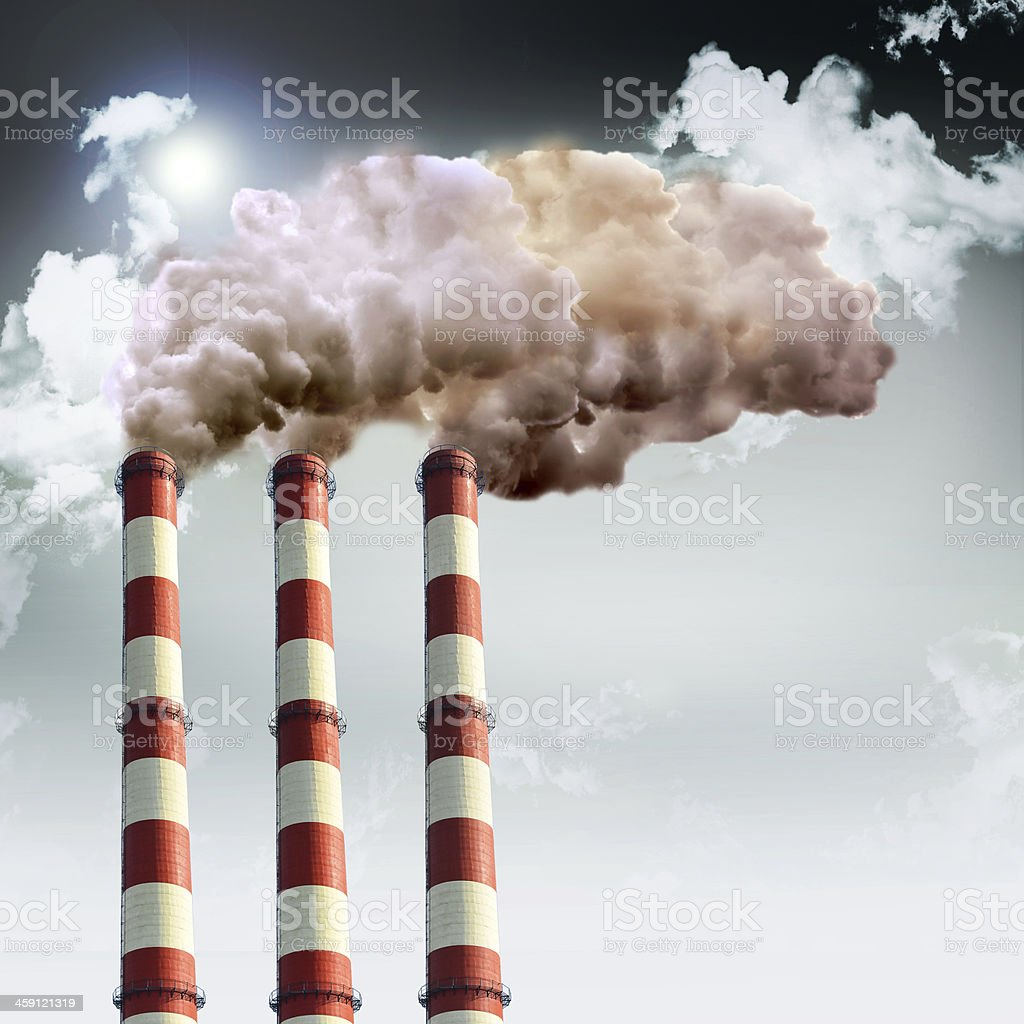 Air pollution concept with smoke and industrail chimneys royalty-free stock photo