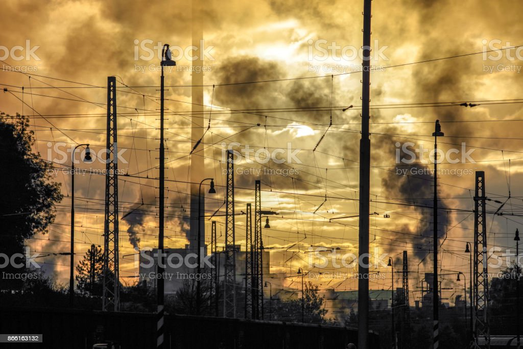 Air pollution. factory chimney stock photo