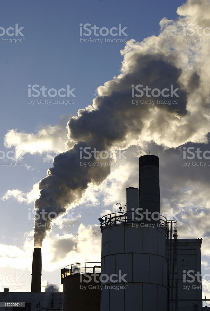 Air Pollution From a Paper Mill royalty-free stock photo