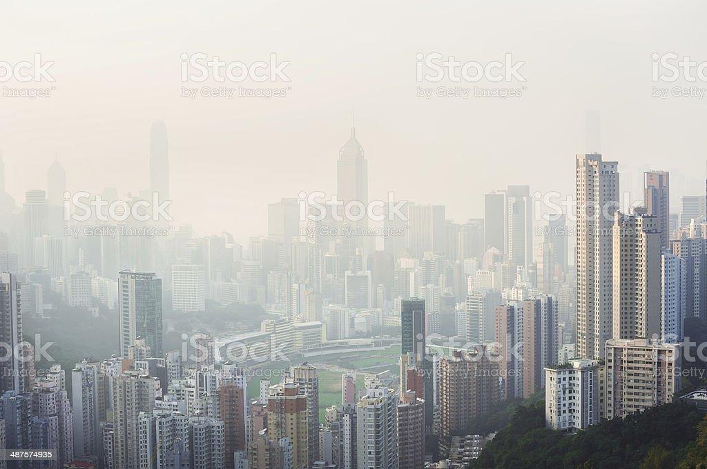Air pollution hangs over Hong Kong Island stock photo
