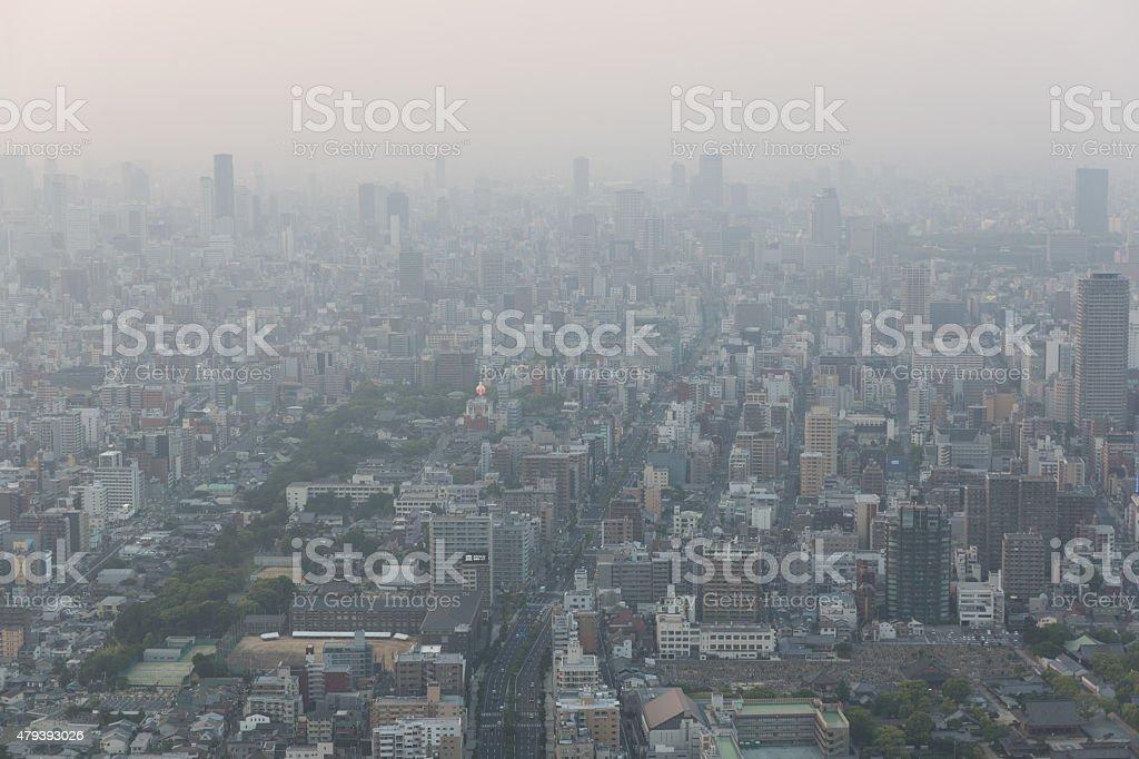 Air Pollution, Haze covers the Osaka Skyline in Japan stock photo