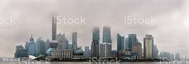 Air Pollution In Shanghai China Buildings Are Shrouded In Smog Stock Photo - Download Image Now