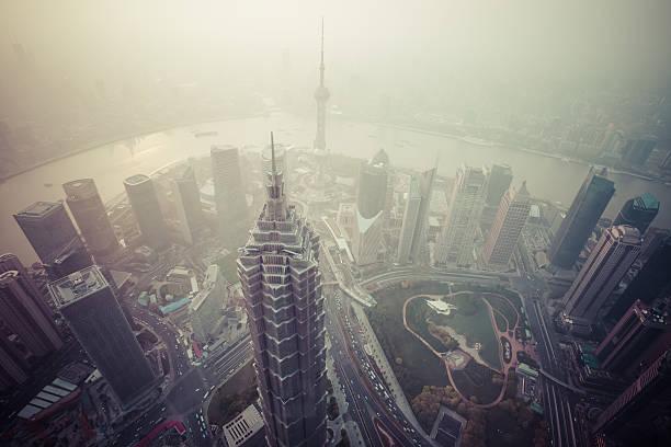 pollution de l'Air sur Shanghai, Chine - Photo