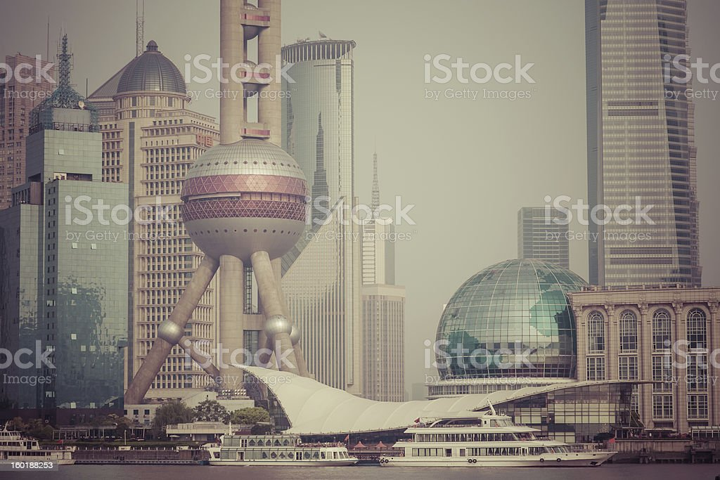 Air pollution in Shanghai, China royalty-free stock photo