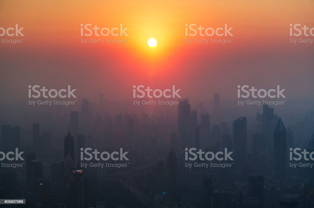 Air pollution in Shanghai stock photo