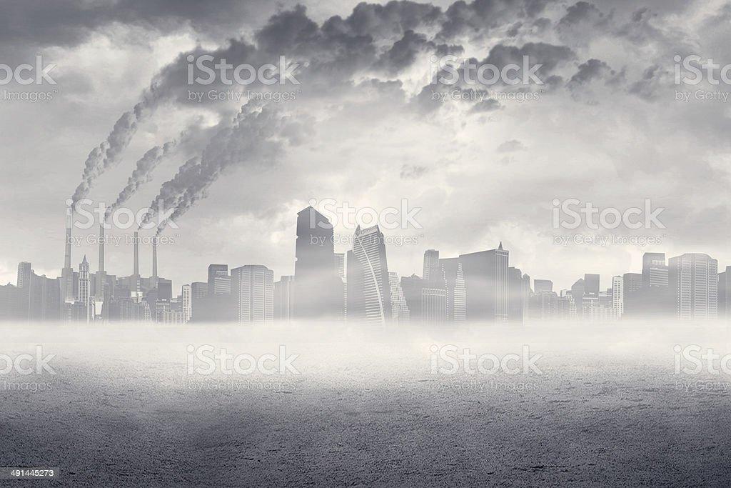 La contaminación del aire en la ciudad - foto de stock
