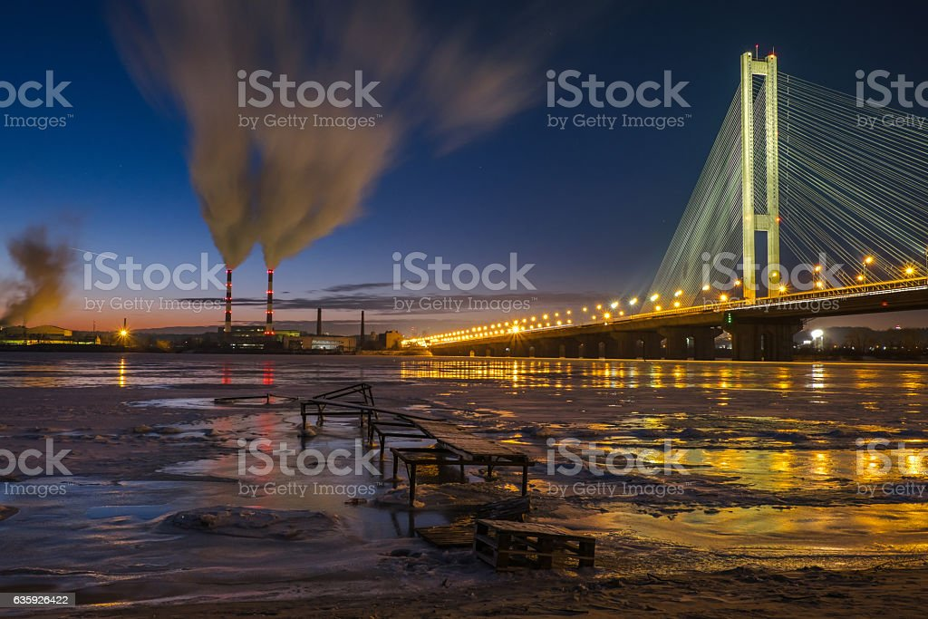 Air pollution in the city stock photo
