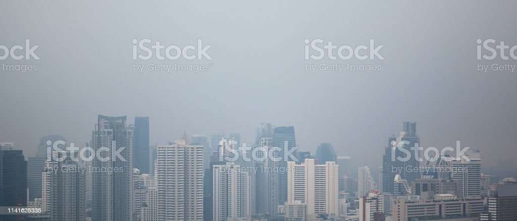 Air pollution of Bangkok city for background. Weather atmosphere...