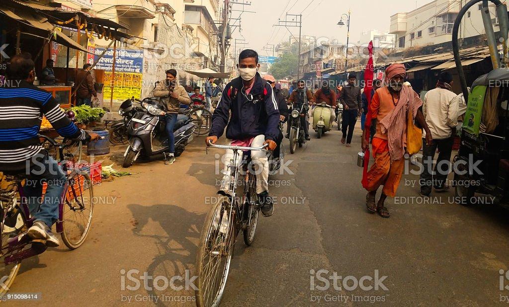Air pollution. Varanasi,  India stock photo