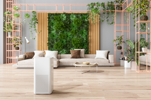 Air Purifier In Living Room For Fresh Air, Healthy Life, Cleaning And Removing Dust