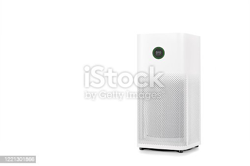 istock Air purifier with filter for cleaner removing fine dust PM2.5 isolated on white background 1221301866