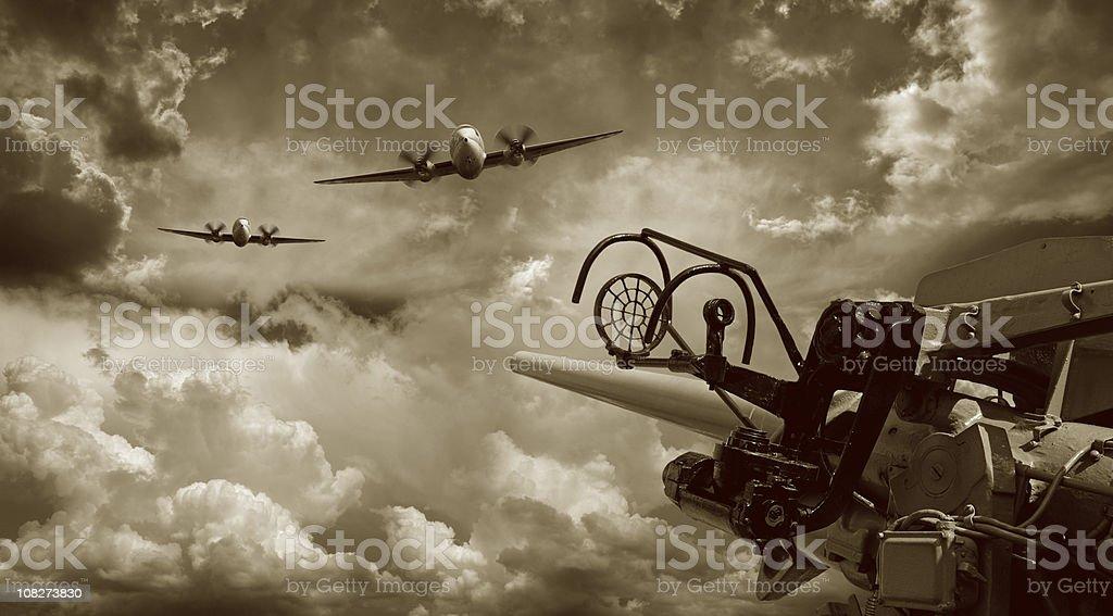 Air Raid and Anti Aircraft Machine Gun stock photo