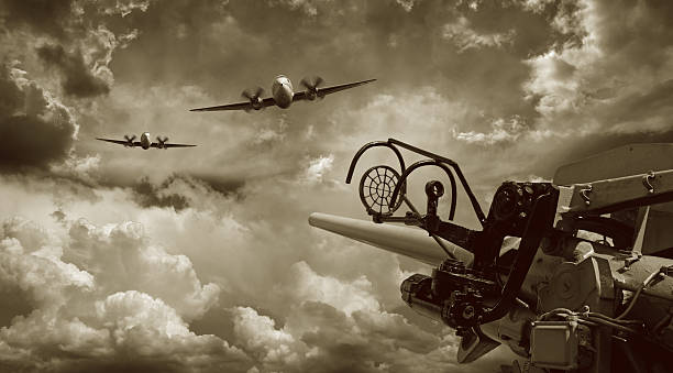 Air Raid and Anti Aircraft Machine Gun  bomber plane stock pictures, royalty-free photos & images