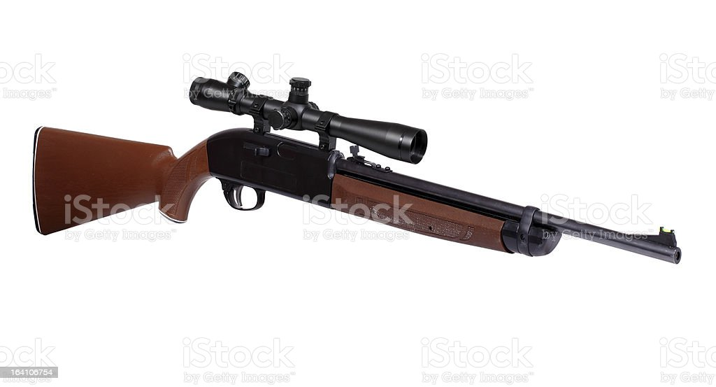 Air rifle with riflescope stock photo