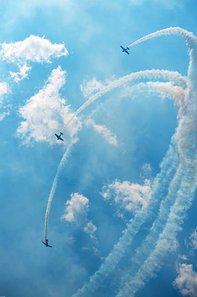 air show acrobatics - airshow stock photos and pictures