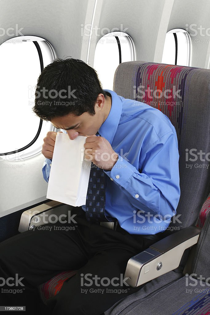 Air Sick On The Plane stock photo