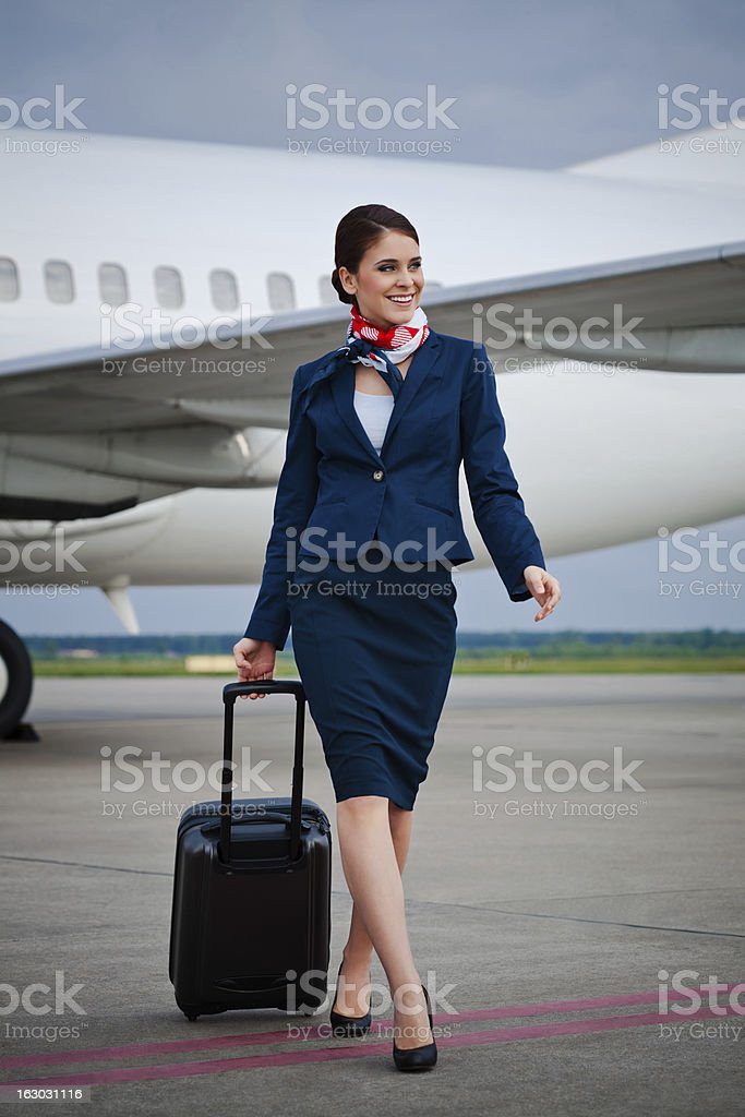 Air stewardess stock photo