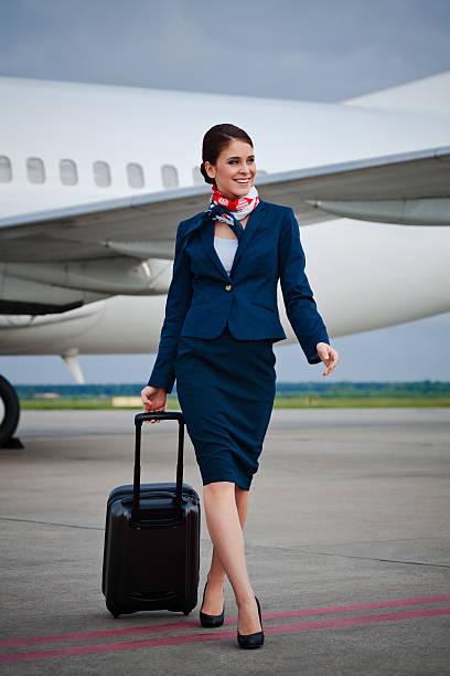 Air stewardess stock photo