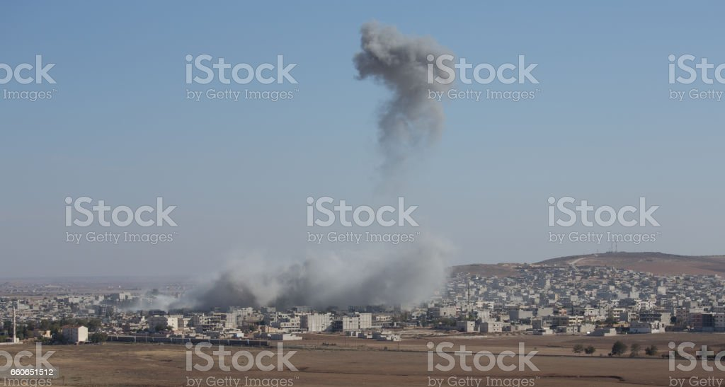 Air strikes stock photo