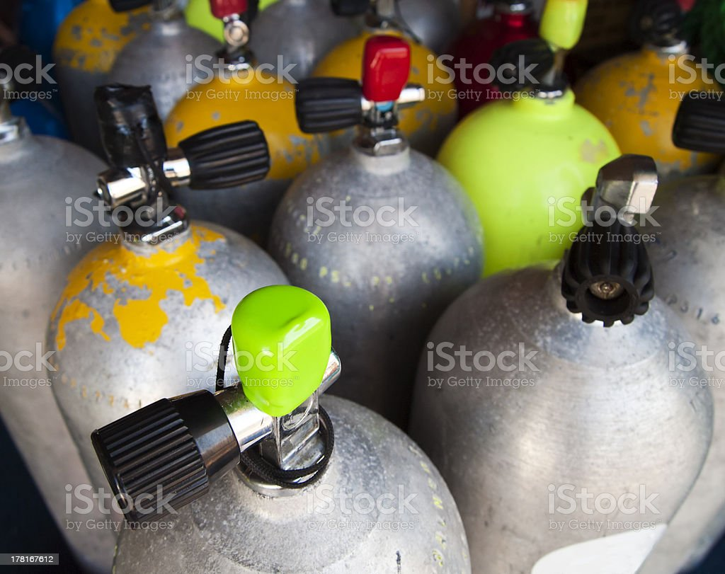 Air Tanks Filled For A Dive stock photo