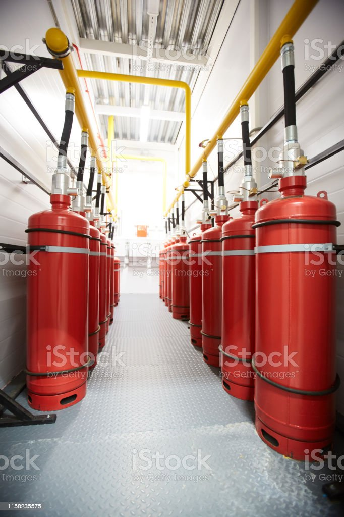 Lucht tanks in de industrie kamer - Royalty-free Achtergrond - Thema Stockfoto
