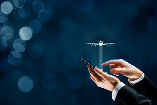 Air ticket booking and smartphone app for online travel insurance stock photo