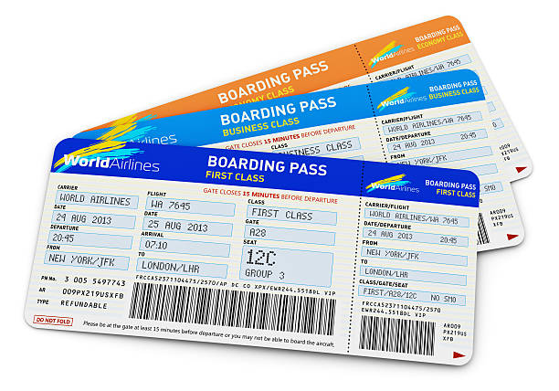 air tickets - aeroplane ticket stock photos and pictures