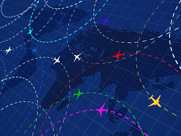 Air traffic colored stock photo