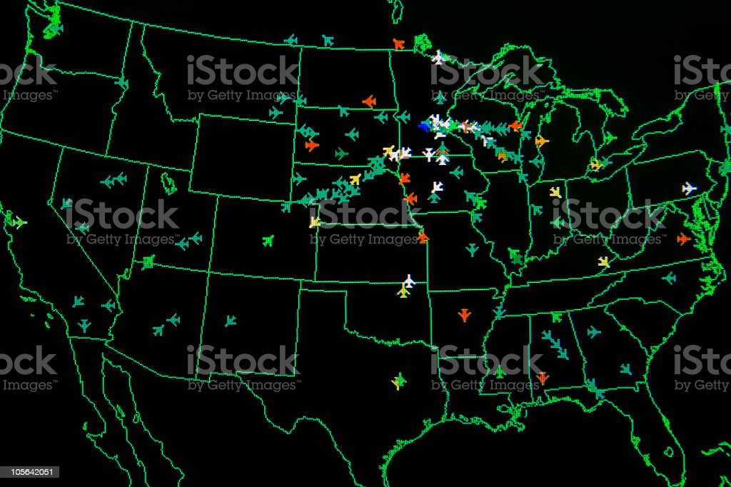 Air Traffic Control Monitor stock photo