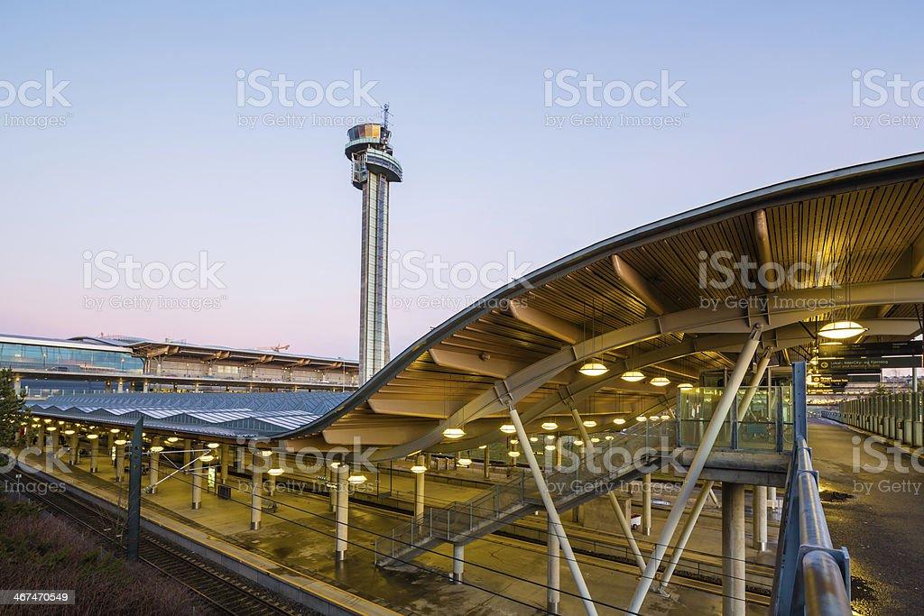 Air Traffic Control Tower and Railway Station stock photo