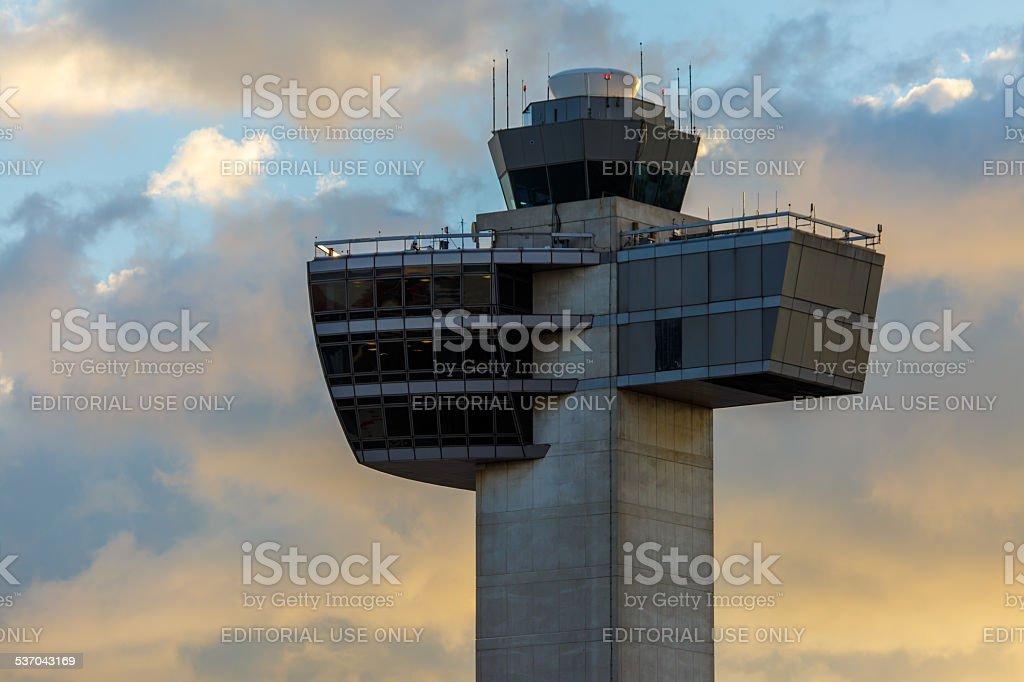 Air traffic control tower at JFK Airport stock photo