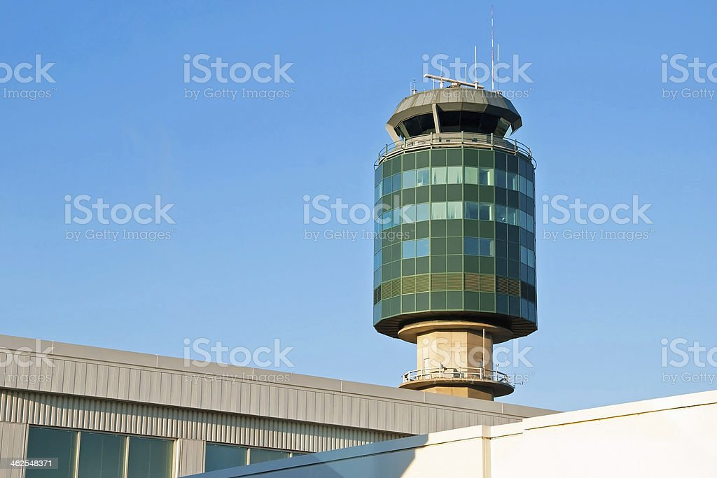 Air traffic control tower in Vancouver YVR airport royalty-free stock photo