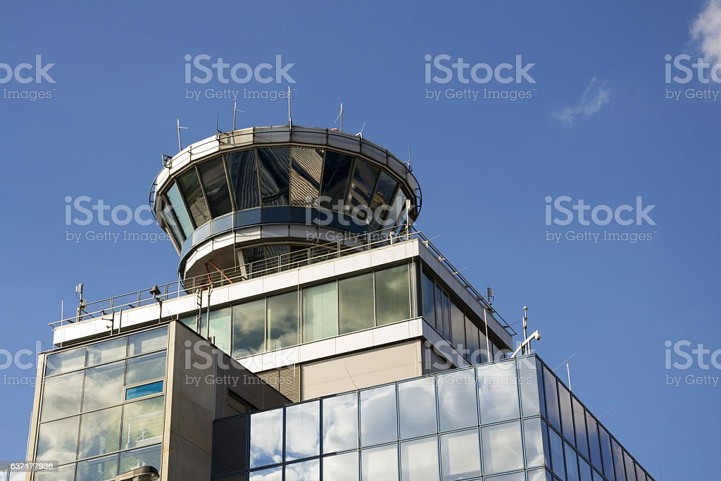 Air Traffic Control Tower On Airport In Prague Czech Republic Stock