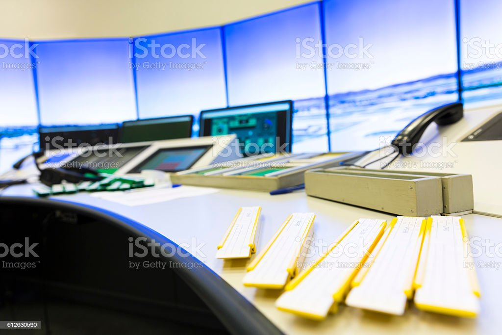 Air Traffic Services Authority controller's desk stock photo