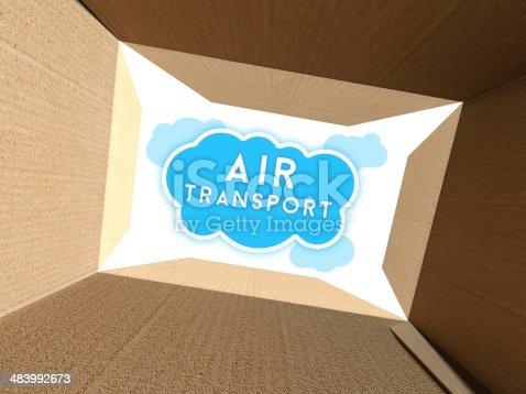 istock Air transport seen from interior of cardboard box 483992673