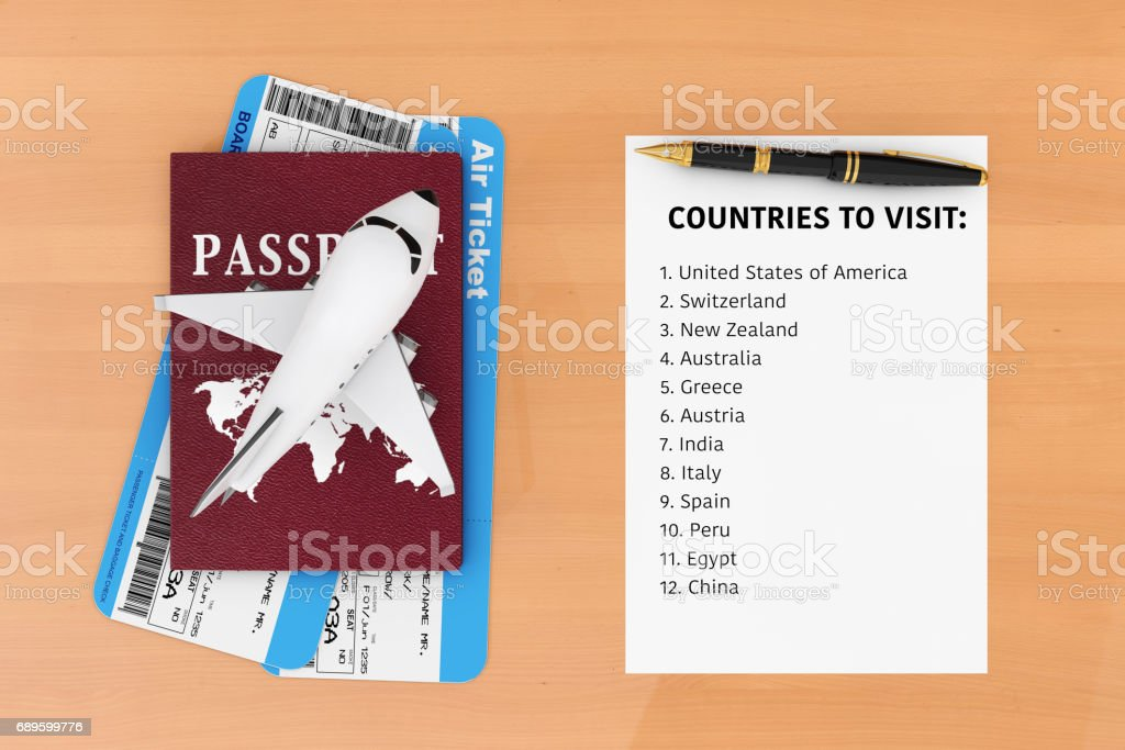 Air Travel Concept Airplane Passport Tickets Pen And Paper With Countries To