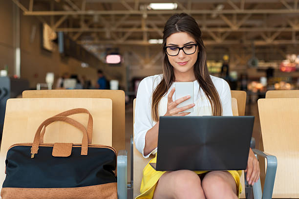 Air travel concept and modern technology stock photo
