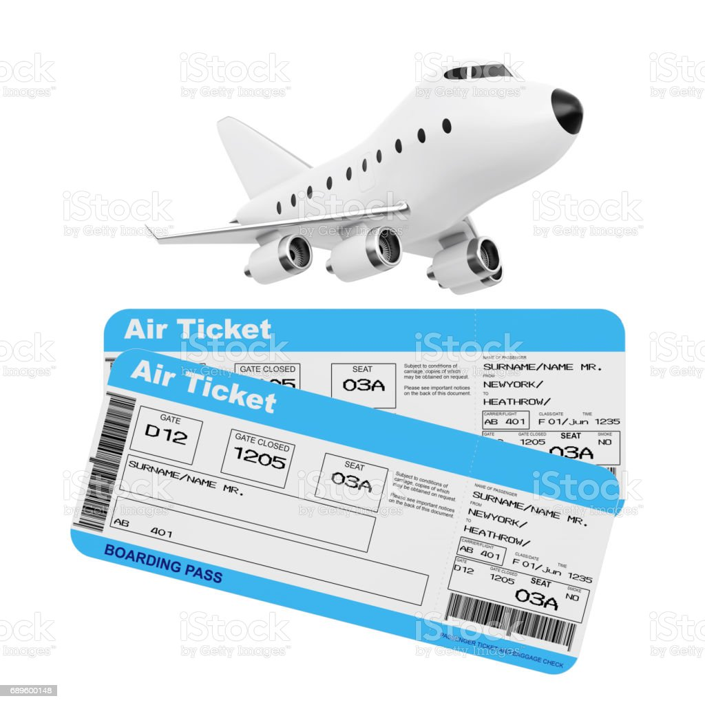 Air Travel Concept. Cartoon Toy Jet Airplane with Airline Boarding Pass Tickets. 3d Rendering stock photo