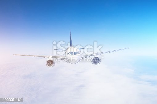 816320512 istock photo Air travel on a passenger plane flying in the sky. 1209051161