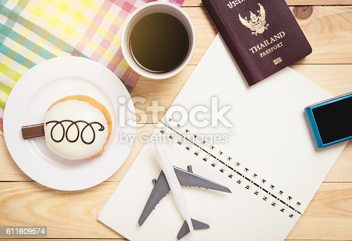 istock Air travel planner traveler object in cafe table 611609574