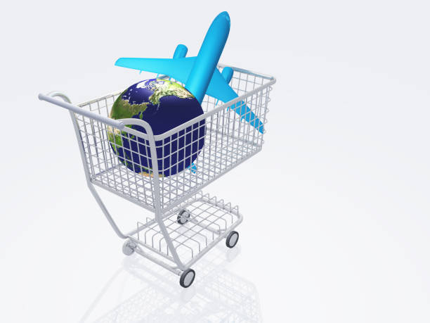 luft reisen einkaufen - billigflüge buchen stock-fotos und bilder