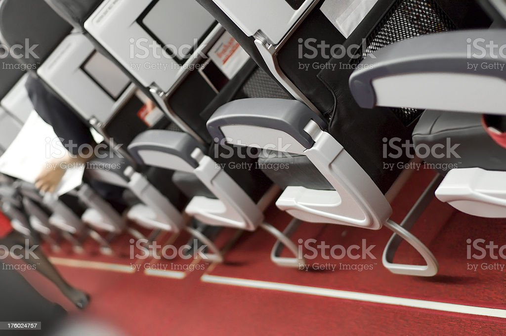 Air Travel with seats and red walk way royalty-free stock photo
