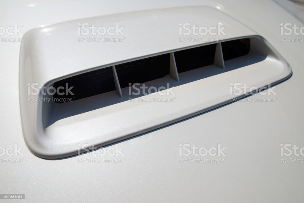 Air Vent on Hood of Car stock photo