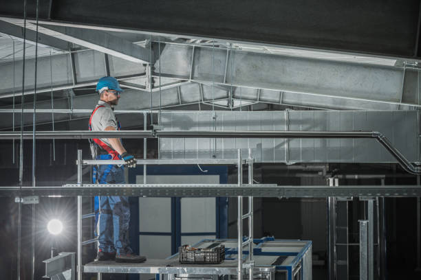 Air Ventilation Shaft Assembly In Warehouse. stock photo